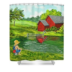 Favorite Fishing Hole Shower Curtain by Charlotte Blanchard
