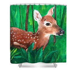 Shower Curtain featuring the painting Fawn by Ellen Canfield