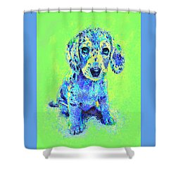 Green And Blue Dachshund Puppy Shower Curtain by Jane Schnetlage