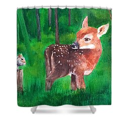 Shower Curtain featuring the painting Fawn With Squirrel by Ellen Canfield