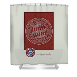 Fc Bayern Munich Logo And 3d Badge Shower Curtain by Serge Averbukh