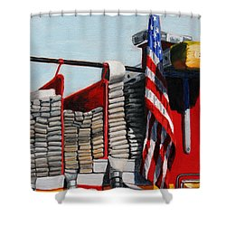 Fdny Engine 59 American Flag Shower Curtain