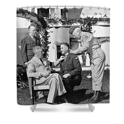 Shower Curtain featuring the photograph Fdr Presenting Medal Of Honor To William Wilbur by War Is Hell Store