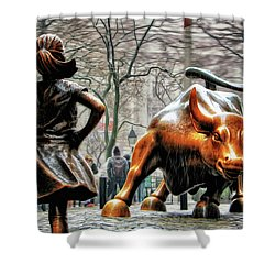 Fearless Girl And Wall Street Bull Statues Shower Curtain by Nishanth Gopinathan