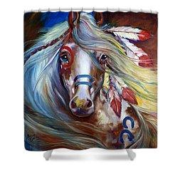 Fearless Indian War Horse Shower Curtain by Marcia Baldwin