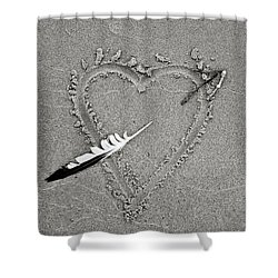 Feather Arrow Through Heart In The Sand Shower Curtain