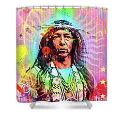 Feather Chief Shower Curtain by Gary Grayson