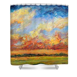 Shower Curtain featuring the painting Feathered Sky by Mary Schiros