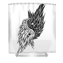 Feathered Ying Yang  Shower Curtain by Peter Piatt