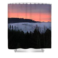 February Oregon Sunrise Shower Curtain by Katie Wing Vigil