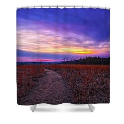 February Sunset And Path At Retzer Nature Center Shower Curtain by Jennifer Rondinelli Reilly - Fine Art Photography