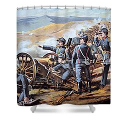 Federal Field Artillery In Action During The American Civil War  Shower Curtain by American School