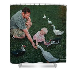 Feeding Ducks With Daddy Shower Curtain by Michael Nowak