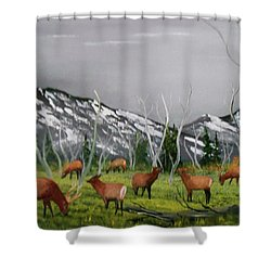 Feeding Elk Shower Curtain