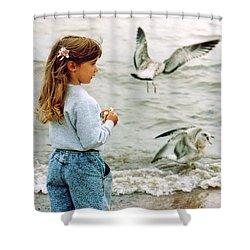 Feeding Gulls Shower Curtain