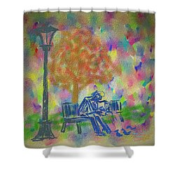 Shower Curtain featuring the painting Feeding The Birds by Kevin Caudill