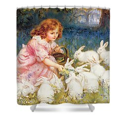 Feeding The Rabbits Shower Curtain by Frederick Morgan