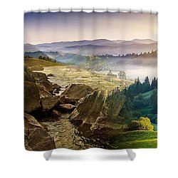 Feeding The Waterfall Montage Shower Curtain