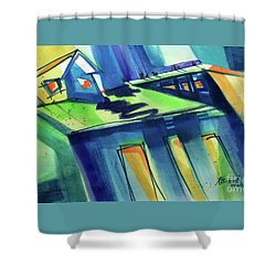 Shower Curtain featuring the painting Feedmill In Blue And Green by Kathy Braud