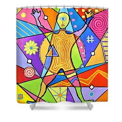 Feel The Vibes Shower Curtain by Jeremy Aiyadurai