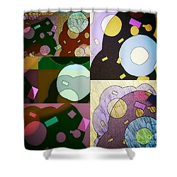 Shower Curtain featuring the mixed media Feeling Happy by Ann Calvo