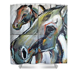Shower Curtain featuring the painting Feeling Thunder by Cher Devereaux