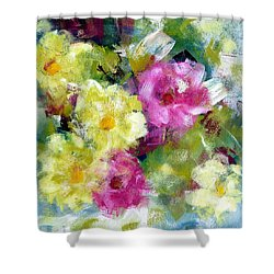 Shower Curtain featuring the painting Felicidades by Katie Black