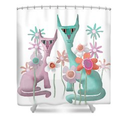 Felines In Flowers Shower Curtain