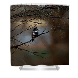 Shower Curtain featuring the digital art Female Belted Kingfisher 3 by Ernie Echols