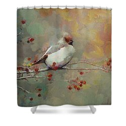 Shower Curtain featuring the painting Female Cardinal - Feathered Friends Collection  by Elizabeth Coats