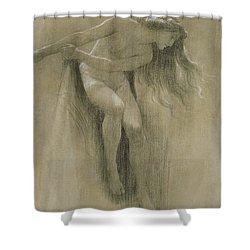 Female Nude Study  Shower Curtain by John Robert Dicksee