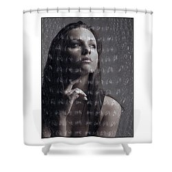Female Portrait With Reptile Texture Shower Curtain