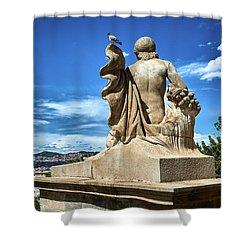 Shower Curtain featuring the photograph Female Sculpture At Montjuic by Eduardo Jose Accorinti