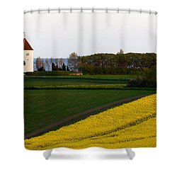 Femoe Fields And Church Shower Curtain