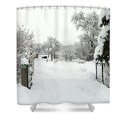 Shower Curtain featuring the photograph Fence And  Gate In Winter by Wilhelm Hufnagl