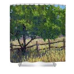 Fence Line Tree Shower Curtain