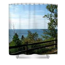 Shower Curtain featuring the photograph Fence On The Lake by Charles Robinson