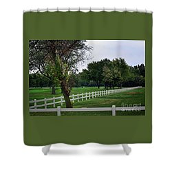 Fence On The Wooded Green Shower Curtain