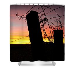 Fence Sunrise Shower Curtain by Kathy M Krause