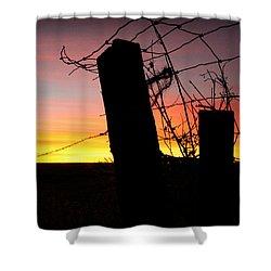 Fence Sunrise Shower Curtain