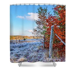 Shower Curtain featuring the photograph Fenced Autumn by Dmytro Korol