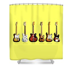 Fender Guitar Collection Shower Curtain by Mark Rogan
