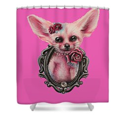 Shower Curtain featuring the drawing Fennec Fox by Sheena Pike