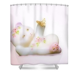 Shower Curtain featuring the photograph Fenton Art Glass Bear by Linda Phelps