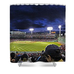 Fenway Night Shower Curtain by Rick Berk
