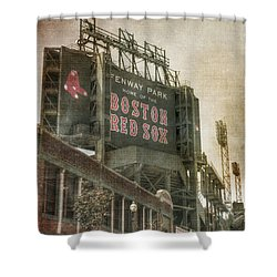Fenway Park Billboard - Boston Red Sox Shower Curtain by Joann Vitali