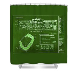 Fenway Park Blueprints Home Of Baseball Team Boston Red Sox Shower Curtain