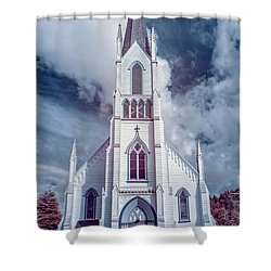 Ferndale Church In Infrared Shower Curtain by Greg Nyquist