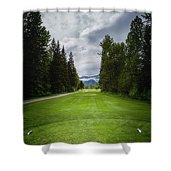 Shower Curtain featuring the photograph Fernie Tee Box by Darcy Michaelchuk