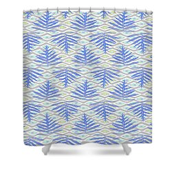 Ferns On Diamonds Indigo Gray Shower Curtain